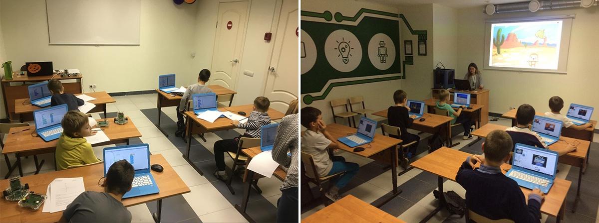 На занятиях «Роббо клуба» дети программируют на языке Scratch